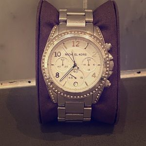 Michael Kors Silver & Pave Crystal Watch